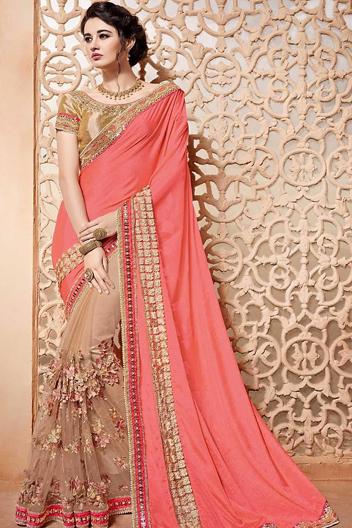 Rose & Beige Saree with Golden Border