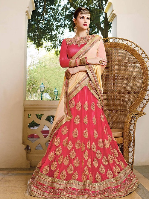 Embroidered Net Lehenga - Peach