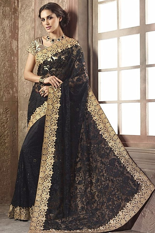 Black/Red Net Saree with Golden Border