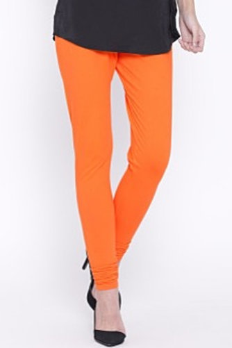 Knitted Cotton Free Size Churidar Leggings - Orange