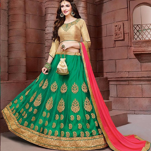 Embroidered Net Lehenga - Green