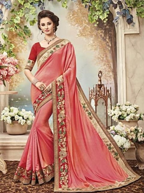 Rose Silk Saree with Red & Beige Border
