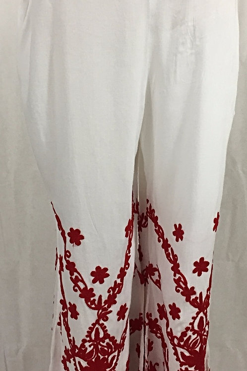 Rayon Palazzo with Thread work - Red on White