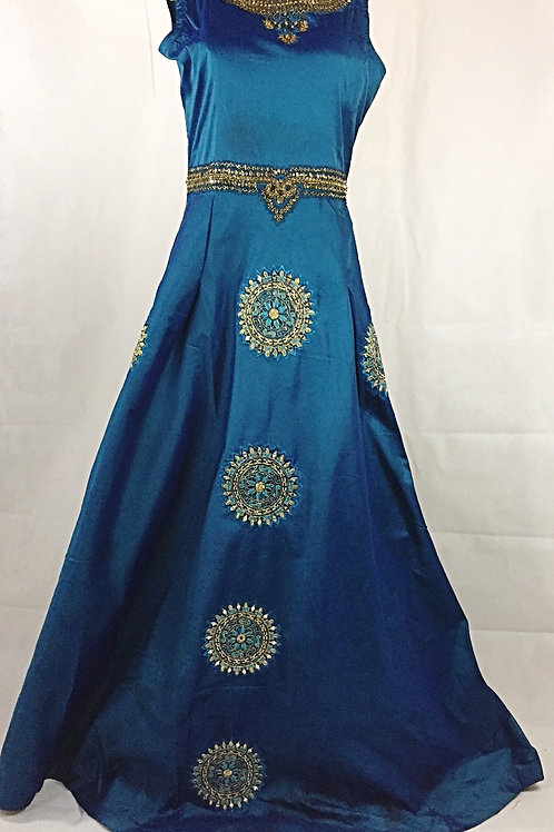 Teal Blue Indo Western Gown