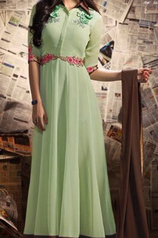 Mint Green Georgette Floor Length Gown with Silk Border
