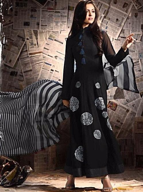 Black Georgette Floor Length Gown