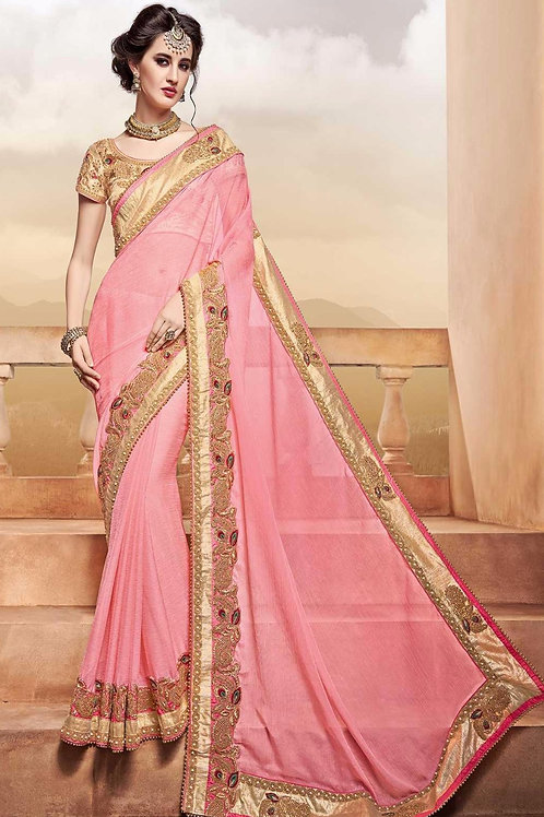 Pink Saree with Golden Border