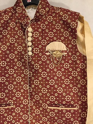 Kurta Set with matching Brocade Jacket - Maroon