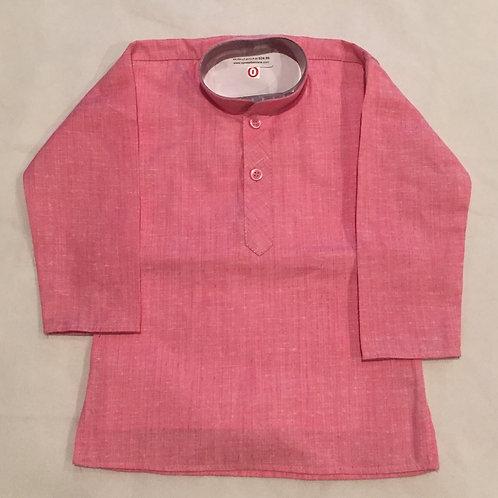 Cotton Linen Boys Kurta in Light Pink