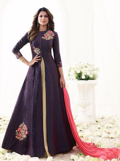 Purple Banarasi Silk Anarkali