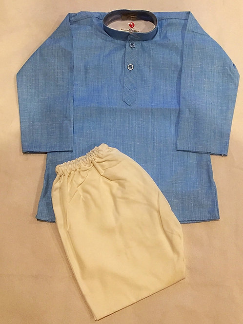 Cotton Linen Boys Kurta in Sky Blue