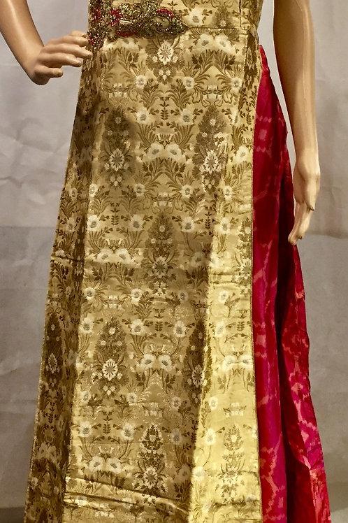 Party wear Kurta style lehenga set - Pink & Gold
