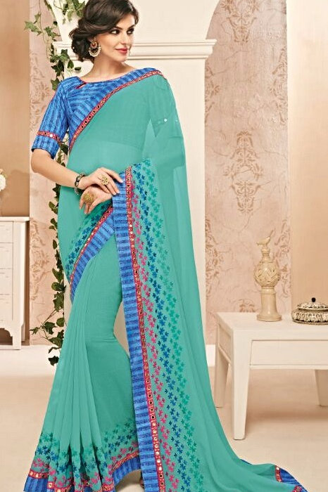 Cyan Georgette Chiffon Saree with Blue Border