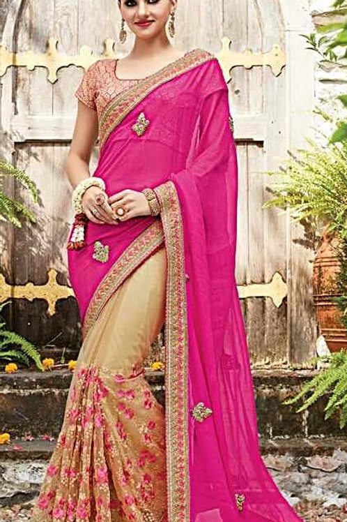 Beige Net Saree with Pink Georgette Chiffon Aanchal