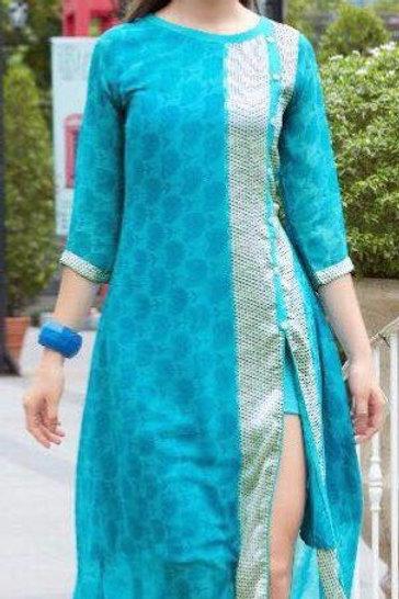 Georgette Party wear Kurta - Turquoise Blue
