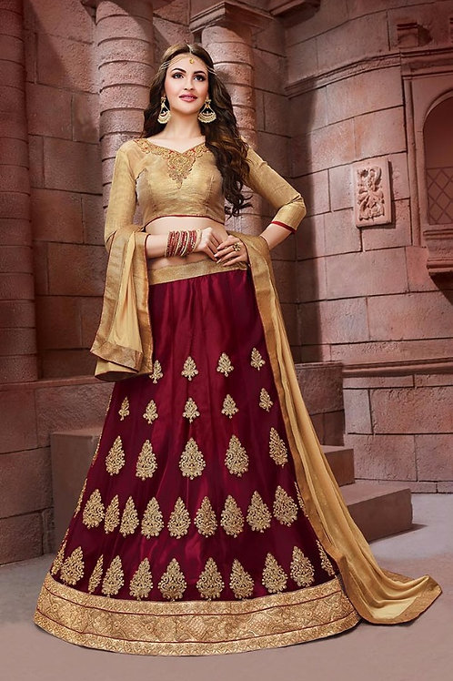 Embroidered Net Lehenga - Maroon