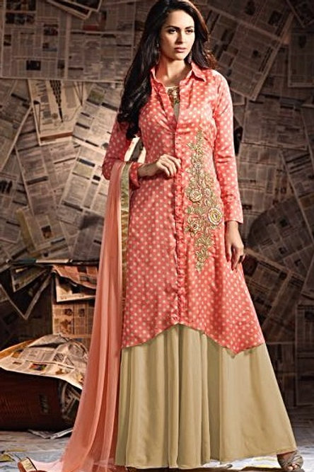 Georgette Floor Length Gown with Koti