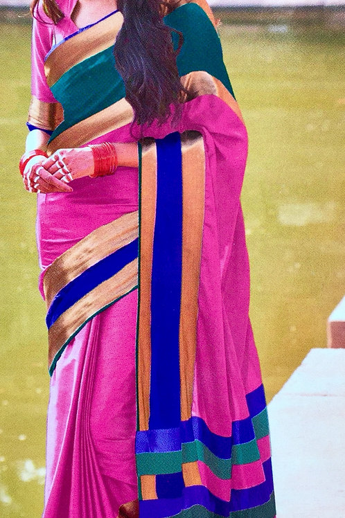 Woven Plain Art Silk Saree with Solid border - Pink