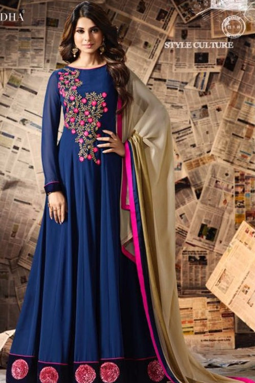 Georgette Floor Length Gown with Velvet border