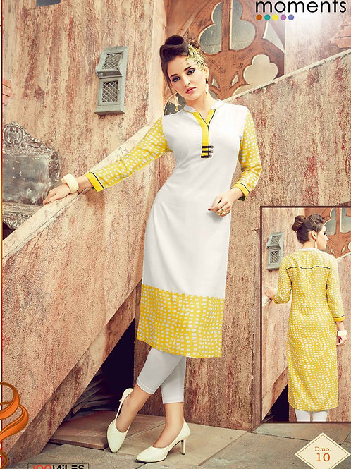 Printed Rayon Kurta - White & Yellow