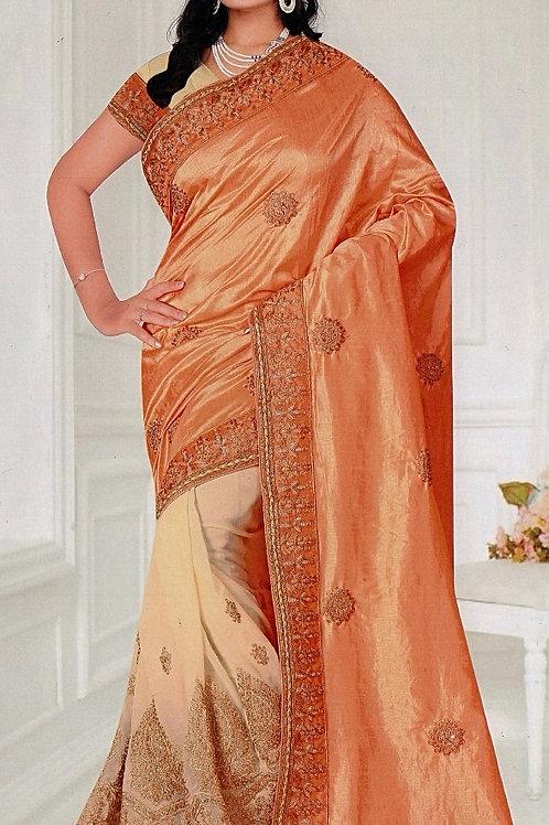 Beige Saree with Light Orange Aanchal