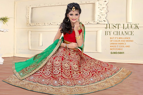 Embroidered Net Lehenga Girl - Red