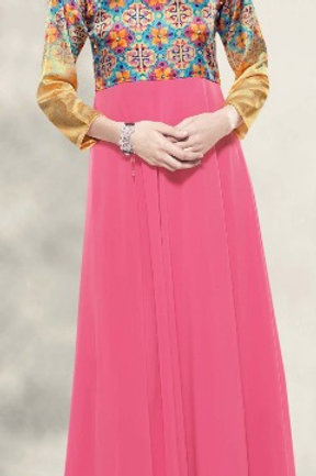 Satin Silk & Georgette Gown Style Kurta