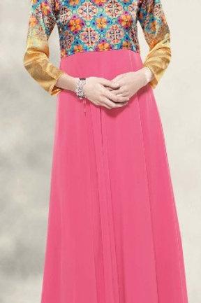 Satin Silk & Georgette Gown Style Kurta
