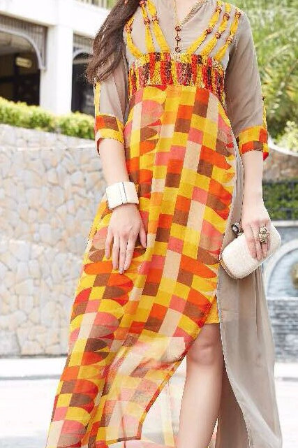 Georgette Party wear Kurta - Beige & Yellow