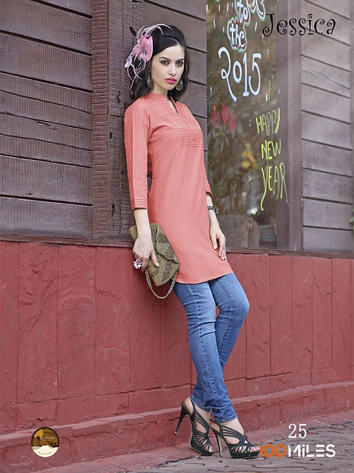 Jessica Cotton Kurta Peach