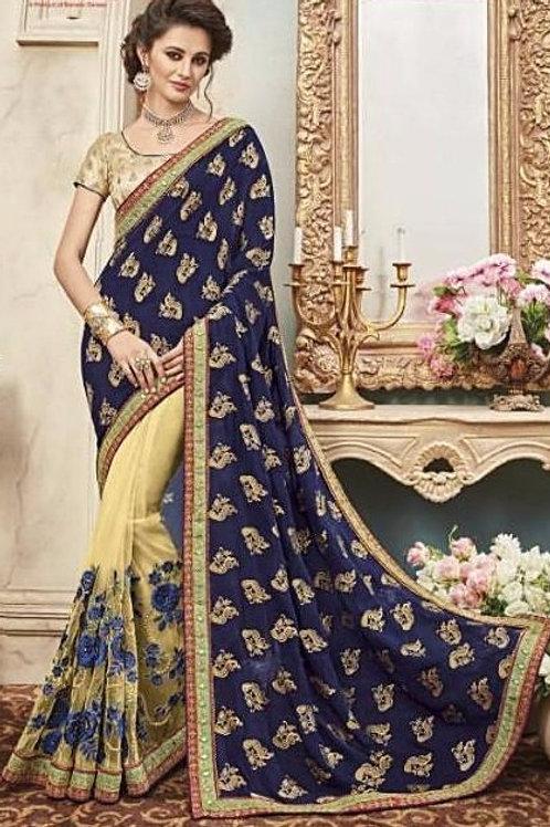 Silk & Net Beige Saree with Navy Blue Aanchal