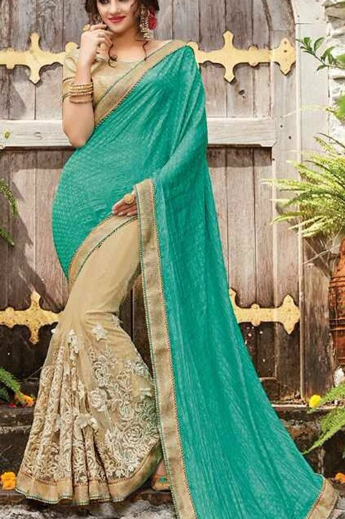 Beige Net Saree with Sea Green Aanchal, Fully stitched Blouse