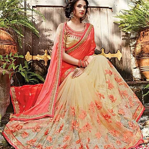 Beige Net Saree with Rose Georgette Chiffon Aanchal