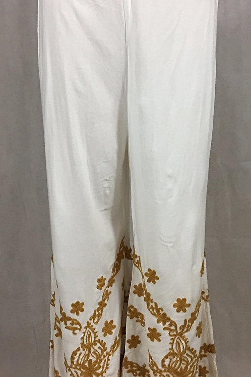 Rayon Palazzo with Thread work - Gold on White