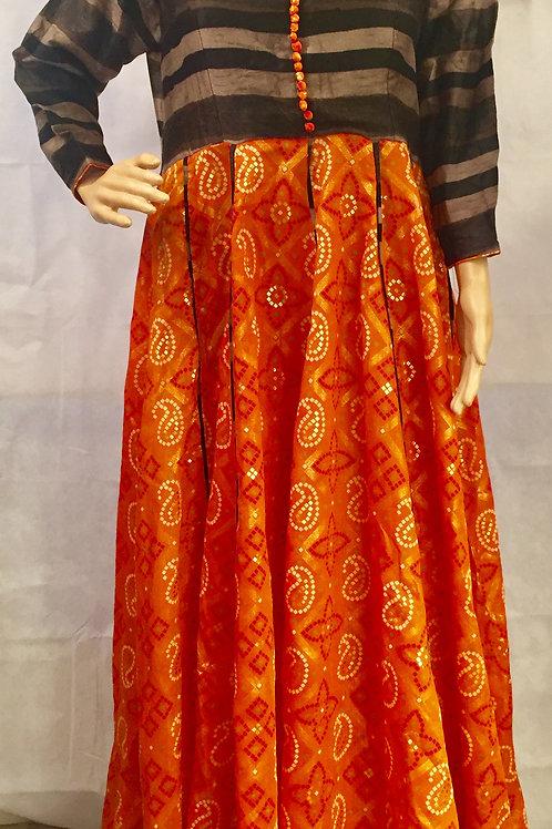 Party wear Anarkali style Kurta - Orange