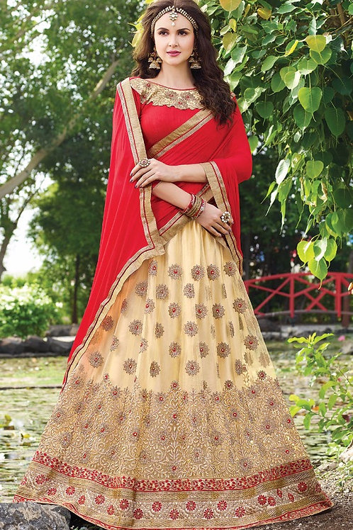 Embroidered Net Lehenga - Golden & Red
