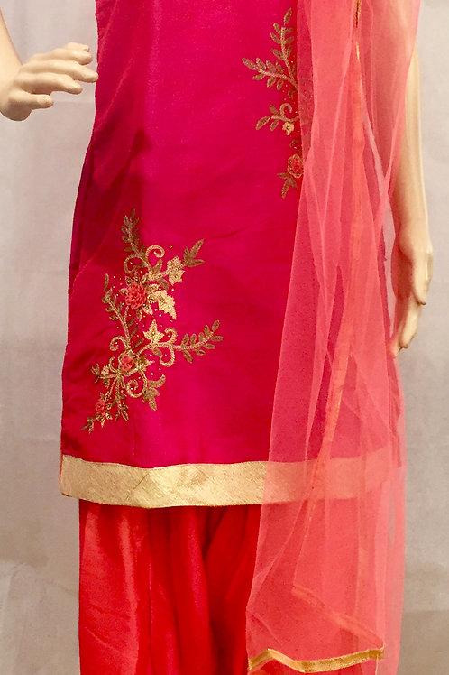 Party wear Short Kurti Set- Pink