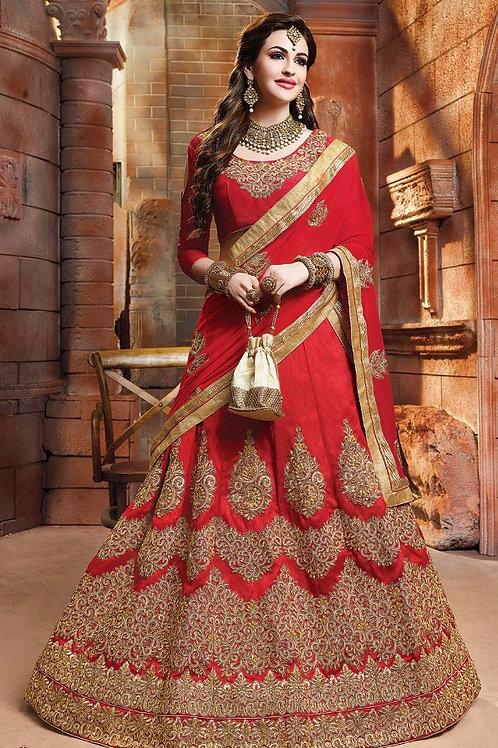 Embroidered Silk Lehenga - Red (Bridal)