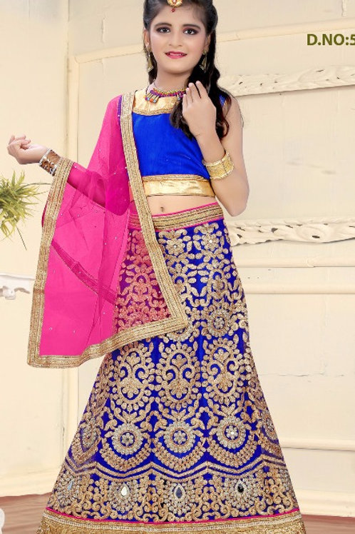 Embroidered Net Lehenga Girl - Blue