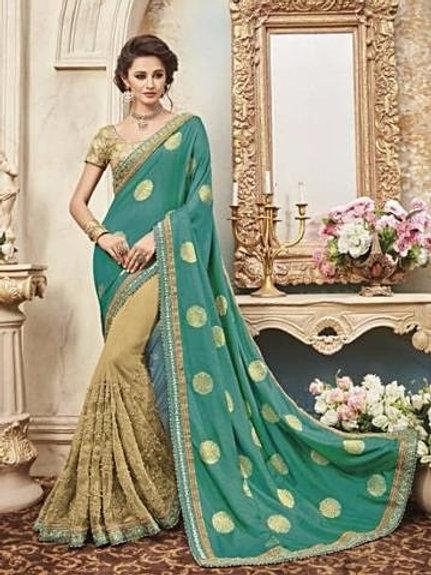 Silk & Net Beige Saree with Blue - Green Aanchal