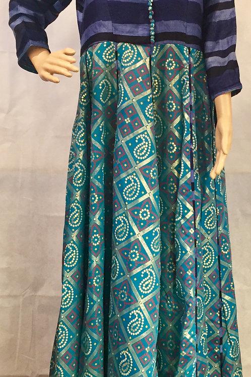 Party wear Anarkali style Kurta - Sea Blue