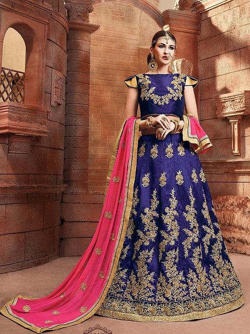 Embroidered Silk Lehenga - Blue