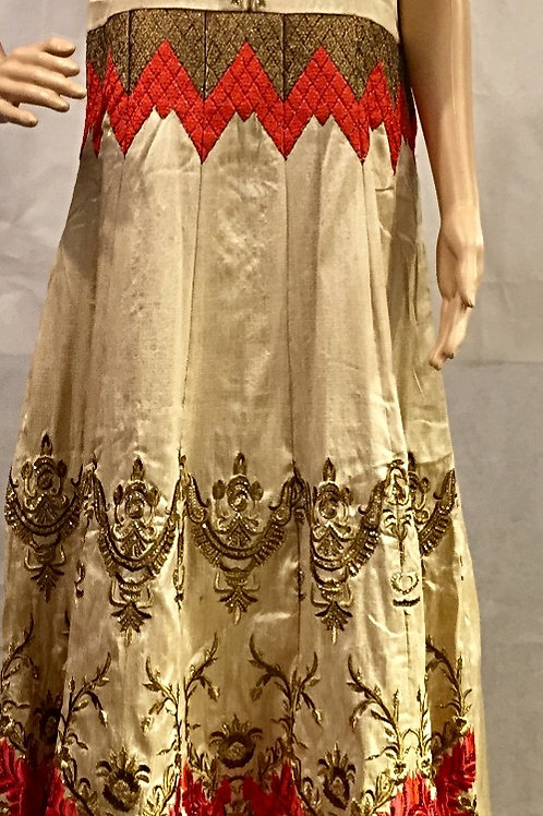 Party wear Kurta set - Beige & Golden