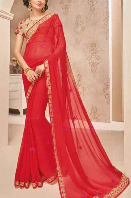 Red Georgette Chiffon Saree with Border