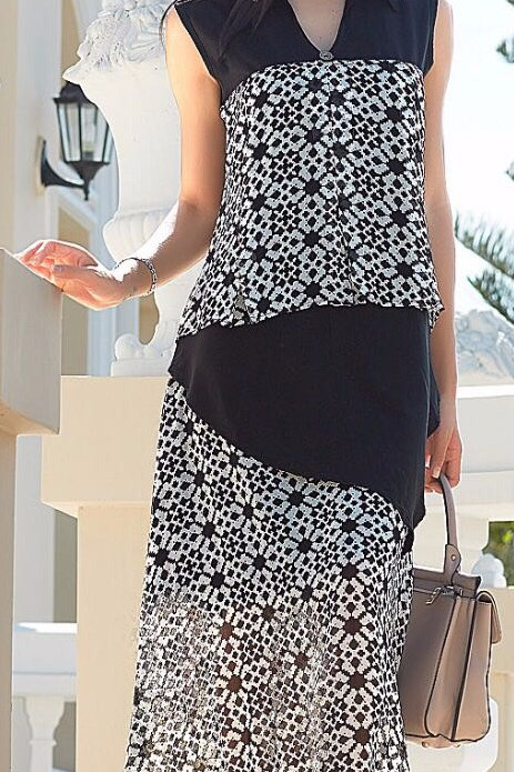 Georgette Gown Style Kurta - Black & Ivory