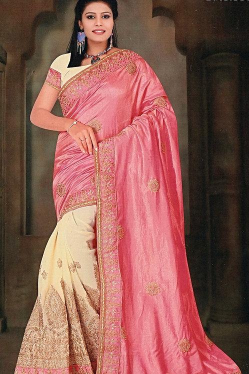 Beige Saree with Pink Aanchal