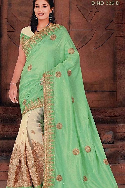 Beige Saree with Light Green Aanchal
