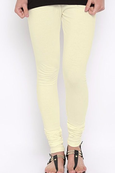 Knitted Cotton Free Size Churidar Leggings - Cream