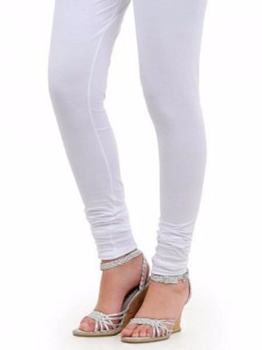 Knitted Cotton Free Size Churidar Leggings - White