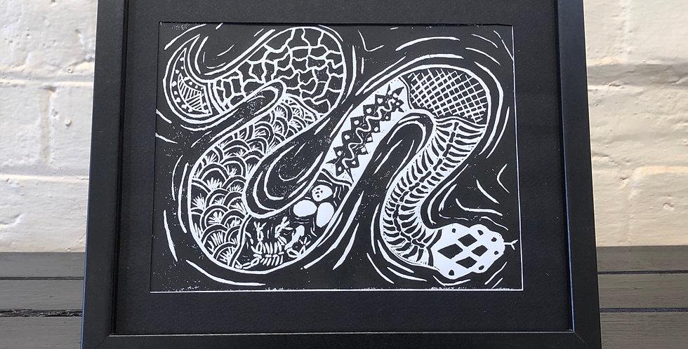 Snake Lino Cut
